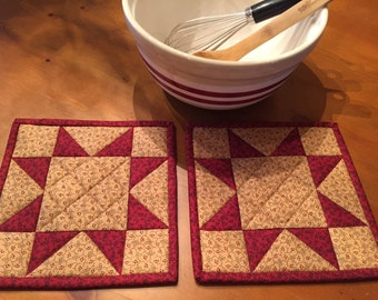 Star Potholders / Kitchen Pot Holders / Quilted Potholders / Country Decor / Handmade / Item #1777