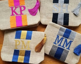 Customized bag, bridesmaids gift, bridal party gift, Jute Burlap Clutch Wristlet with pompoms beach clutch birthday gift accessories