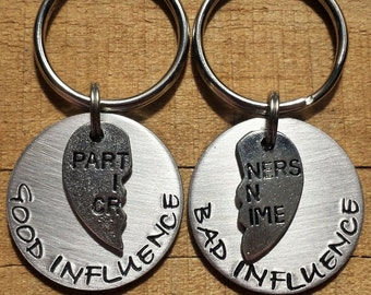 Best Friend Keychain - Best Friend Gift - Good Friend Bad Friend - Couple Keychains- Good Influence Bad Influence - Friend Gift
