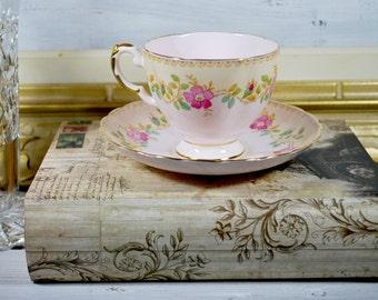 Pink Bone China Tea Cup and Saucer , Made in England Tea Set