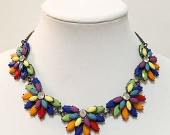 Multicolored and Crystal Clear Rhinestones Necklace /Dark Gray Chain Bib Necklace /  Necklace.