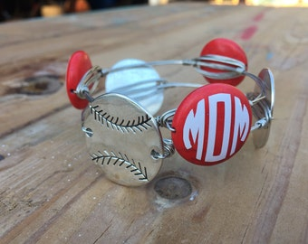 Baseball mom bourbon and boweties inspired wire wrapped bangle/sports mom bangles/wire bangle/baseball bracelets/baseball stackable bangles