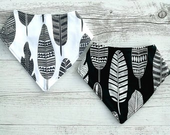 Baby bandana bib. Set of 2 bibs.