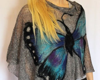 Felted butterfly  linen ponchos  Poncho Cape wrap poncho linen sweater pancho linen cape blac and white  Knit Modern Clothing Accessories
