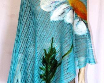 poncho with felted marguerite flowers Pancho knitted maternity turquoise linen gift for woman merino linen Pancho of linen exclusive