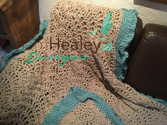 Hand crocheted afghan blanket