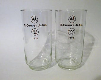 Set of Two R. Cooper Jr. Inc. 1972 Motorola Westinghouse Logo Collectible Drinking Glasses