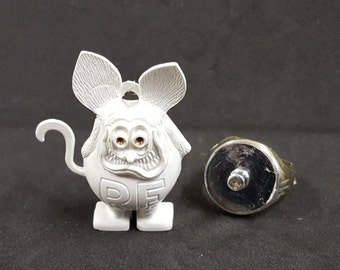 Vintage 1960s White RAT FINK charm Bronze or Dark Gold eyes with Metallic-plated plastic RING