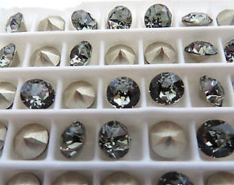 24 Swarovski crystal rhinestones 1088 pointed back SS24 Black diamond 215