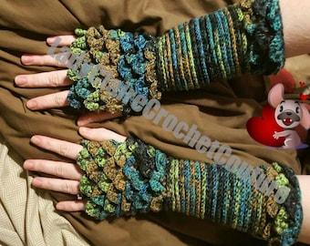 Dragon Scale Gloves, mermaid arm warmers