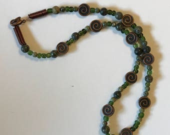 Olive Green and Copper Necklace