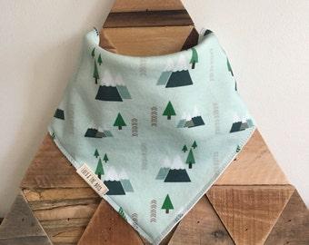 mountain forest bandana bib//mountain forest bib //mountain forest dribble bib//organic cotton bib