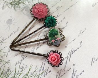 Hair Clips Watermelon Pink Floral And Flamingo Bobby Pins