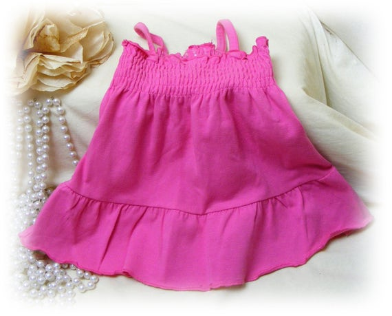 Adorable Handmade (SMALL+) DOG DRESS  . . Doggie Sundress . . Adorable in Pink