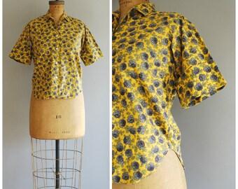 Blue Rose blouse • 1950s cotton top