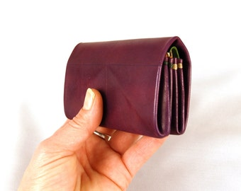Leather wallet 3 pieces origami, (violet, orange and green), Leather  origami wallet, for Cards, Bills and Coins, 10 x 6.5 x 2.5 cm