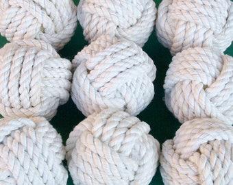Set of 20 Nautical Monkey Fist Knots - Cotton - medium size - Nautical Rope Knots- home decor-rustic wedding-nautical wedding
