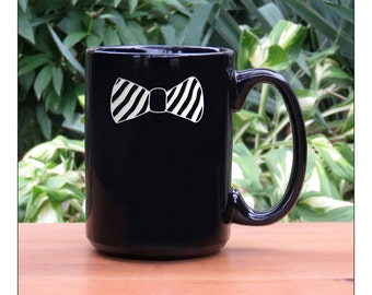 Bow Tie Coffee Mug / 15 oz Ceramic Coffee Mugs / Bow Tie Engraved Large Tea Mug / Retirement Gift / Hot Chocolate Mug
