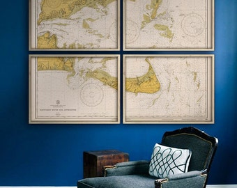 "Nantucket Sound map 1933, nautical chart of Nantucket & Martha's Vineyard, 5 sizes up to 80x60"" in 1 or 4 parts - Limited Edition of 100"