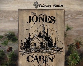 "Family Cabin Sign, Personalized Cabin Sign, Cabin Decor, Rustic Frame, Rustic Home Decor, Housewarming Gift, 12"" x 16"""