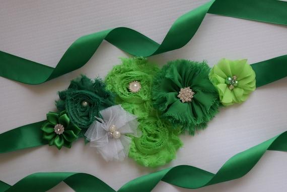 Flower Sash, Green and white Sash#2 , flower Belt, maternity sash