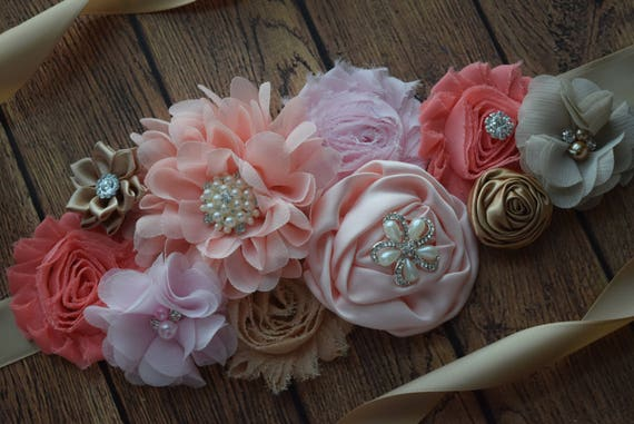 Sash, dream coral  Sash  #2, flower Belt, maternity sash, maternity sash belt, flower girl sash belt, pink sash