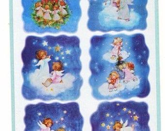 Vintage Children Angel on Clouds Stickers Sheet