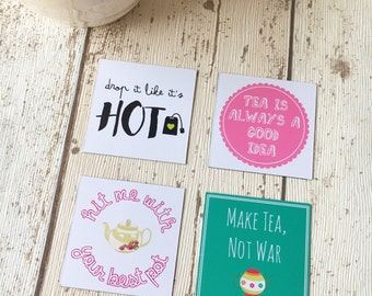 Tea Lover Magnet • drop it like it's hot • hit me with your best pot • make tea, not war • tea is always a good idea •