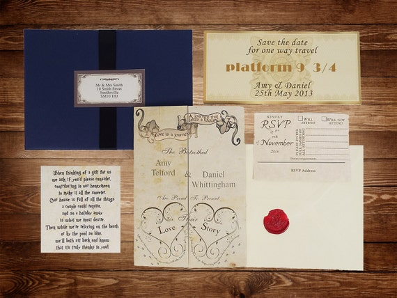 harry potter wedding invitations handmade harry potter wedding invitations 4735