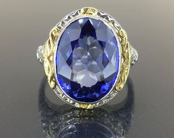 Vintage 14k 2 tone White gold Blue Sapphire Victorian solitaire Oval Ring 15.30