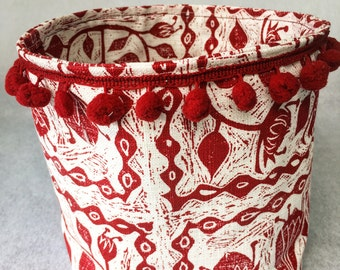 Red Protea Fabric Bucket