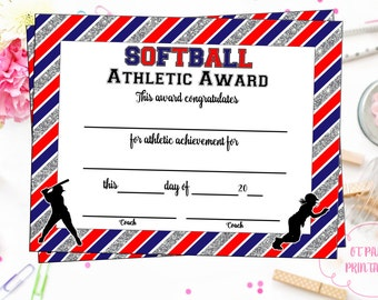 Softball certificate etsy instant download softball certificate of achievement softball award print at home softball pronofoot35fo Choice Image