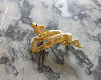 Vintage Capri Deer Brooch Gold Tone