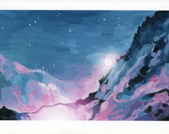 ACEO PRINT 2.5 x 3.5 inches of Original Art Painting, Mountain Moonlight