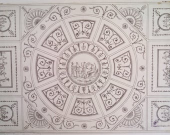 George Richardson antique architectural rendering, Neoclassical ceiling