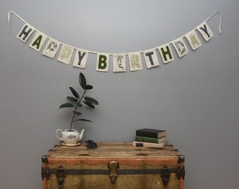 Happy Birthday Banner, Greens, Yellows, Greys, Celebration Banner,  READY TO SHIP
