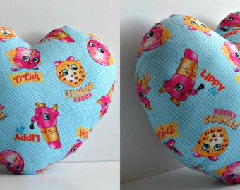 Light Blue shopkin heart pillow. Ready to ship.