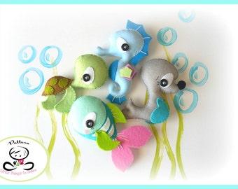 Splash-Sea Animals set of Four-PDF sewing pattern-Seahorse-Seal-Turtle-Fish-Ocean Animals ornaments-Nursery decor-Baby's mobile toy