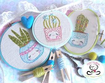 Set of Three Planters-Cacti PDF embroidery pattern-Snake plant-Barrel cactus-Pilosocereus-DIY Project-Instant Download-Cute cactus-Succulent