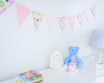 Fabric Bunting, Nursery Decor, Baby Girl Gift, Baby Shower Gift, Bedroom Decor, Photography Prop, Bright Doilies, Reversible Bunting