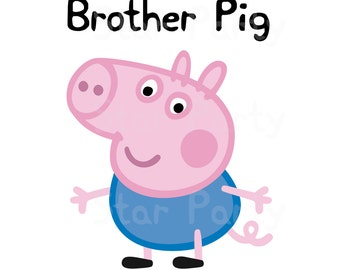 Brother pig, brother, Digital Image for T shirt, Pig party, Printable Iron On Transfer, Sticker custom Birthday Shirt image