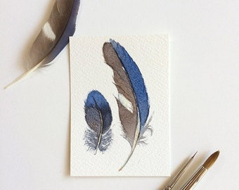 Blue Feathers painting - original ACEO - miniature watercolour painting 2.5x3.5 inches - Australian nature artist trading card - blue art