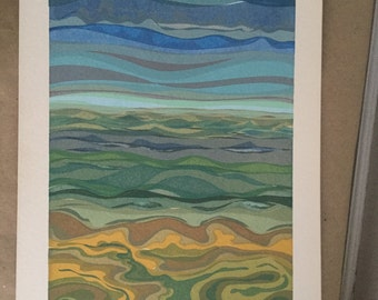Beautiful Mid Century Lithograph Abstract Landscape Blue Green Yellow