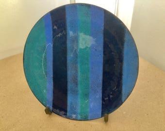 Vintage 1960s Pop Enamel Stripe Plate Blue Green