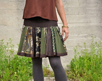 Patchwork Skirt in brown-khaki