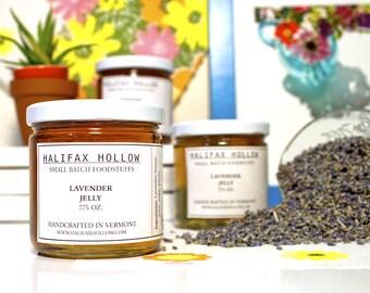 Lavender Jelly-  Flower Jelly- Edible Flowers- Gourmet Jam- Preserves- Foodie Gifts - Edible Summer Favor- Housewarming
