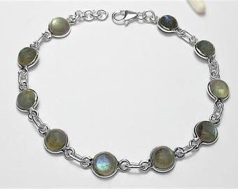 Sterling Silver Labradorite Gemstone Bracelet