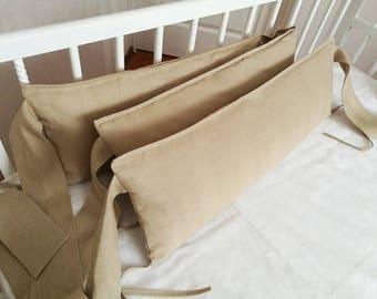 Khaki crib bumper /// Nursery bedding, Linen Bedding, crib bumper, natural linen