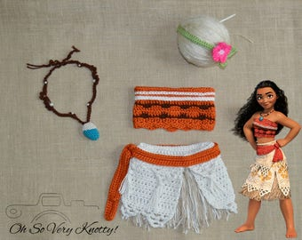 Disney's Moana Outfit, Moana Costume, Photo Prop, Newborn, Baby Moana Theme photo shoot, Crochet Costume