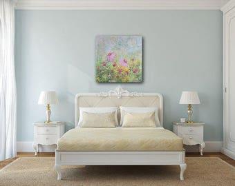 "Large mixed media canvas art ""Daisy field"" 80cm x 80cm"